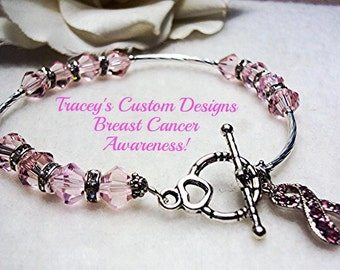 Beautiful BREAST CANCER AWARENESS Swarovski Crystal Bracelet - Custom made designs.