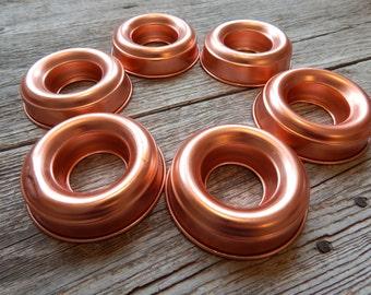 "Set of six copper finish 3 1/2"" jello molds, anodized aluminum copper molds, holiday entertaining"