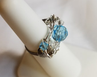Sapphire Swarovski Crystal Ring, Silver Wire, size 6 1/2