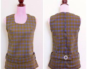 1960s VINTAGE Tunic / 60s Shirt / Geometric / MOD / Knit / Blue / Brown / CHIC