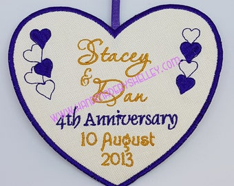 Fourth 4th Wedding Anniversary 100% Irish Linen Personalised Heart Gift Husband Wife Him Her, with matching ribbon