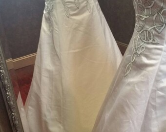 Celtic Wedding Dress with Cream and Green Celtic Embroidery by Award Winning Bridal Salon