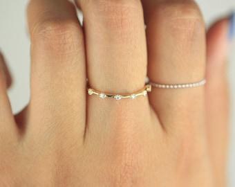 Diamond Ring / Diamond Wedding Band / Diamond Wedding Ring / Diamond Engagement Band / Diamond Engagement Ring / Unique Gold Diamond Ring