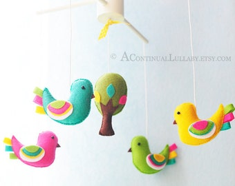 Fancy Birds Baby Mobile, Bird Baby Mobile, Bird and Tree