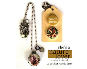 NATURE LOVER Locket Necklace - Nature Lover Gift, Magnetic, nature Girl, Archetype, 3 in 1 Necklaces, Holds a Picture, Polarity, Solocosmo