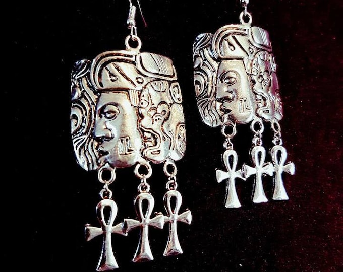 Mayan Triple Ankh Earrings - maya spiritual goth earring gothic tribe