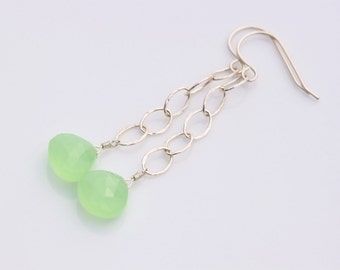 Green Chalcedony Earrings, Sterling Silver, Gemstone, Wire Wrapped, Oval Hammered Chain, Long Dangle Dangly - Vera