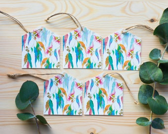5Pack Eucalyptus flowers and leaves Australian Native flora Bamboo eco-friendly Gift Tags