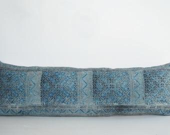 Lumbar Hmong Pillow, Tribal Hand Print batik  Ethnic Bolster Pillow, Indigo batik Hmong cushion, Bolster Pillow, Accent Pillow Lumbar pillow