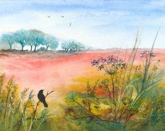 Blackbird in the Hedgerow, Giclee fine art print of my watercolour painting, A4 print, wall art decor, Blackbird, Poppy field, Hedgerow