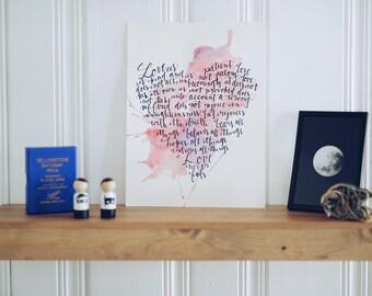 Scripture Wall Art, Love. 1 CORINTHIANS 13:4-8, wall decor, modern calligraphy, bible verse wall art, watercolor art, handlettered