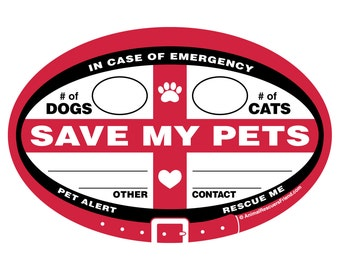DECAL - Emergency Pet Alert - Save My Pets - In Case of Emergency - Euro Pet Decal - 4x6 Oval Outdoor Vinyl Sticker - Pet Dog Lover Gift