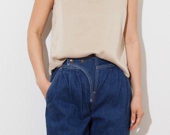 vintage silk top / short sleeve / tank top / Eileen Fisher / beige/ fits xs s/ light / soft