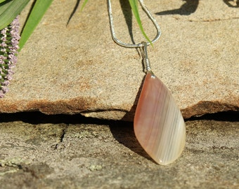 Chalcedony Pendant Nurturing Stone Promotes Harmony & Creativity Strength Confidence Dreams Instills Peace Stability Healing Sterling 274