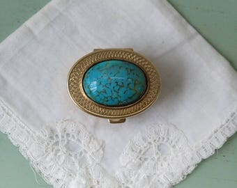 Vintage turquoise Peking glass and brass pill box