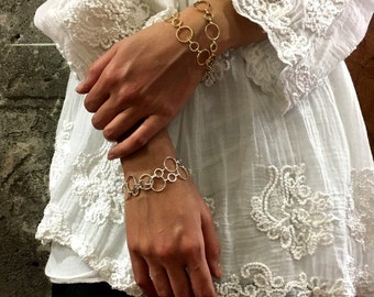 Circles bracelet, dainty bracelet, Gold choker necklace, Layering Necklace, Gift for her, circle choker, wrap bracelet  - AFN 105G