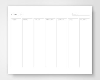 Weekly Calendar Printable, Weekly To Do List, Weekly To Do, Week Planner, Days of the Week Calendar, Week Calendar, Week On One Page, Glance