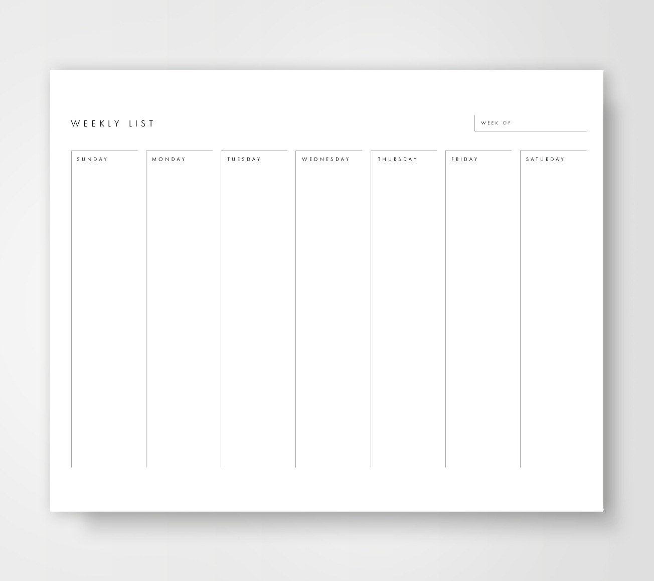 Weekly Calendar List : Weekly calendar printable to do list