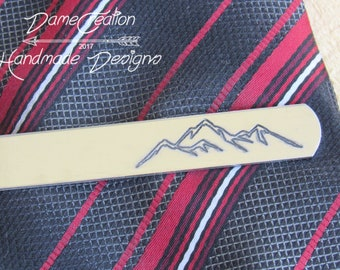 Mountain Tie Clip, Mountain Tie Bar, Custom Tie Clip, Groom Tie Clip, Wedding Tie Clip, Personalized Tie Bar, Groomsmen Gift, Mountain Range