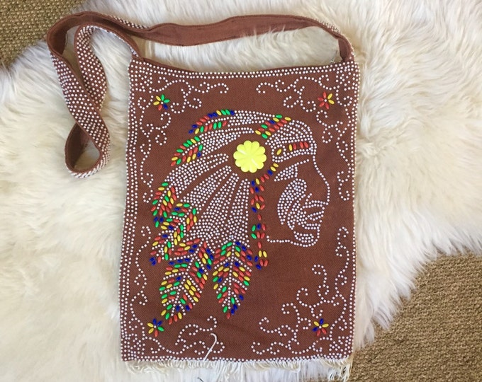emson style native american beaded arm shoulder bag // tribal boho purse