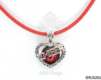 Pick A Pearl Cage Silver Plated Cheer Heart Love Charm Locket Cheerleader on RED CORD