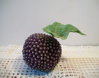 Vintage Beaded Plum Retro Artificial Fake Fruit Christmas Holiday Kitschy Home Decor