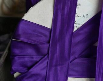 Vintage Purple Ribbon Tape French Taffeta Vintage Wedding Millinery Bouquets 400cm -Royal Roman Purple