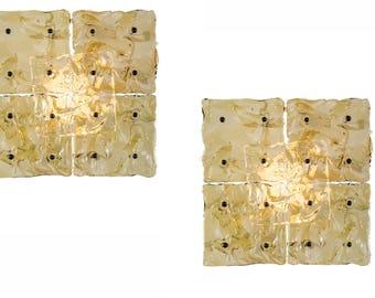 italian mid century amber wall sconces