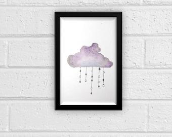 Cloud Watercolor Print