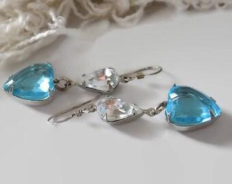 Aqua Heart Earrings Sterling Silver Earrings Dangle Earrings Blue Earrings Victorian Earrings Mother's Day Gift for Her Gift Wrap