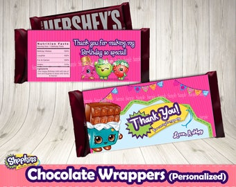 SHOPKINS CHOCOLATE WRAPPER (personalized)- Shopkins wrappers .Shopkins birthday party.Shopkins labels. Shopkins buffet. Shopkins decoration