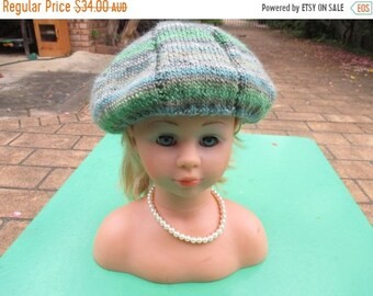 ON SALE Handmade Knitted Green Variegated Beret for Girl aged 8-12 years.