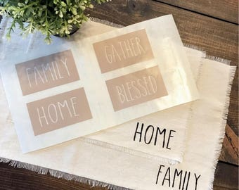 Placemat Stencils | Rae Dunn Inspires | Craft, Farmhouse, Dining Room, Place Setting