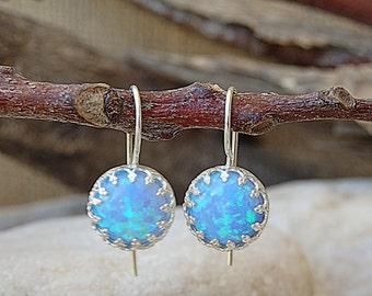 Blue Opal Silver Earrings, Rounded Earrings, Drop Opal Earrings, October Birthstone, Silver Opal Drop Earrings, Blue Fire Opal Jewelry Gift