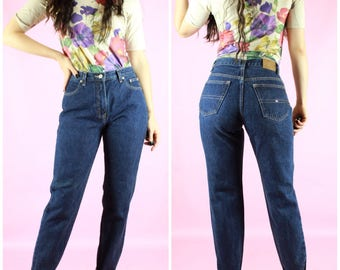 90's Dark Wash Tommy Hilfiger Straight Leg High Waist Jeans Vintage Retro Unique Clothing 60's 70's 80's