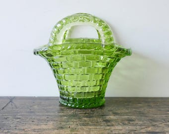 Vintage Green Pressed Glass Basket Weave Mini Basket