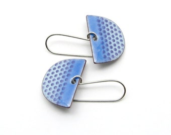 Blue Dangle Earrings with Polka Dots and Sterling Silver Earwires - Modern Enamel Jewelry - Birthday Gift for her