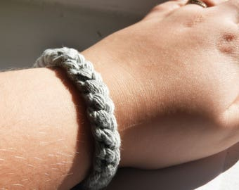 Macrame Bracelet Grey Bracelet Wool Bracelet Minimalist Bracelet Braided Bracelet Boho Bracelet Women Bracelet Woman Bracelet Girl Bracelet