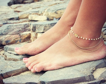 BYSEA ANKLET- triple chain Pearl wire wrapped with 24k gold overlay