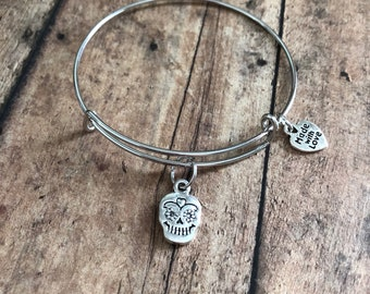Sugar skull charm bracelet, sugar skull jewelry, halloween jewelry, gift for her, birthday gift for her