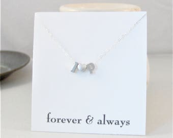 Forever and Always,Personalized Initial Necklace,Silver Necklace,Silver Letter Necklace Bridesmaid Gift Personalized Wedding Minimalist