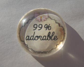 Cabochon 25 mm round domed with his adorable pink and white writing image 1%