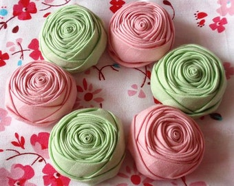 6 Handmade Fabric Rolled Roses (1.5 inches) in Pink, Green  MY-063- 010 Ready To Ship