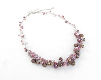 Purple pink freshwater pearl necklace with crystal on silk thread, short necklace