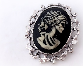 Zombie lady cameo brooch pendant, gothic skeleton necklace, spooky Halloween costume jewelry