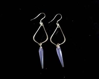 Blue quartz spike tear drop earrings 925 silver