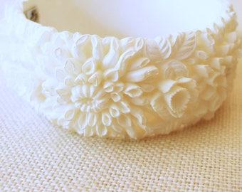 Featherweight Chrysanthemum Bracelet, Featherlite Bangle, Bubbleite, Clamp On Bracelet