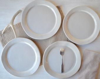SECONDS - Handmade Stoneware Dinner Plates white organic dinnerware plates Set of 4 & Organic dinnerware | Etsy