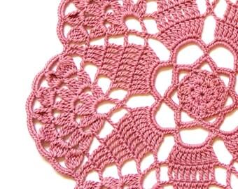Pink blush Crochet  Vintage Doily