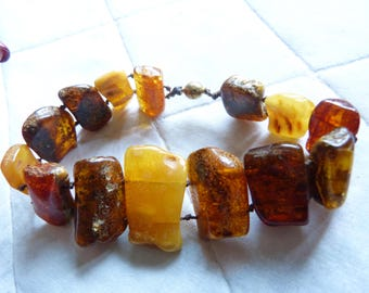 Natural Amber Bracelet, with Antique Natural Honey and Butterscotch Baltic Amber , OOAK, unique